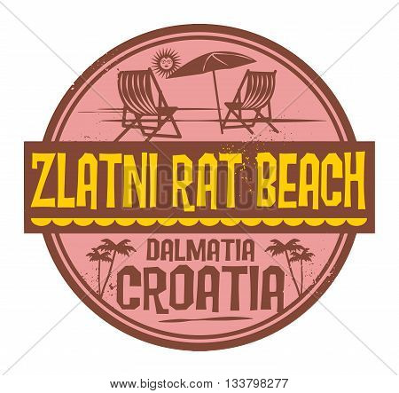 Stamp with words Zlatni Rat Beach, Croatia, written inside vector illustration