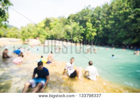 Blurred People Enjoy At Emerald Pool Is Unseen Pool In Mangrove Forest