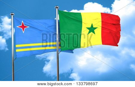 aruba flag with Senegal flag, 3D rendering