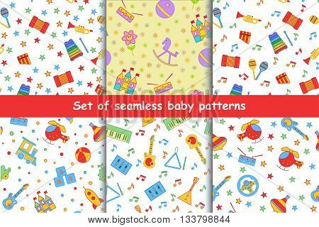 Set of children's seamless pattern. A collection of bright, beautiful, positive background with toys. Design elements for the printing of children's artwork, wallpaper, textile printing