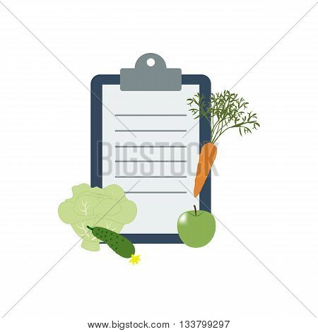 Healthy food and Diet planning diet food. Vector illustration