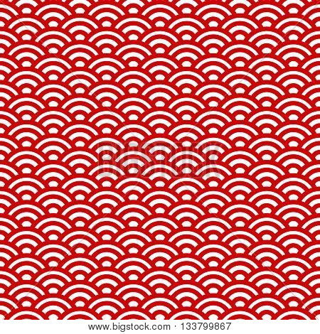 Red and white waves japanese seamless pattern