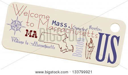 Label Welcome to Massachusetts. Massachusetts and the US state symbols on the label.