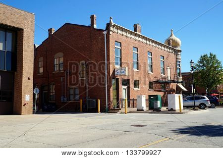 PLAINFIELD, ILLINOIS / UNITED STATES - SEPTEMBER 20, 2015: Meetings of the Plainfield Lodge #536 of the Ancient Free and Accepted Masons occur twice monthly in the historic Masonic Block Building in downtown Plainfield.