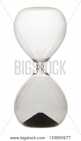 Hourglass for measuring time of one minute in front of white background.