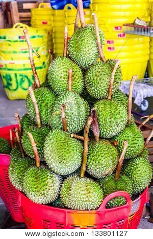 durian fruit tropical food background fresh tasty yellow nature ripe green king thailand white sweet asian isolated thorn asia smell healthy brown delicious nutrition exotic Tropical Fruits King of Tropical Fruits dessert organic Thai fruits Thailand gour