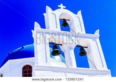 White Cycladic Church in Santorini (Oia), Greek Islands, Greece
