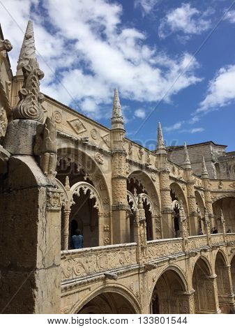 Monastery of Jeronimos spires in Lisbon, Portugal