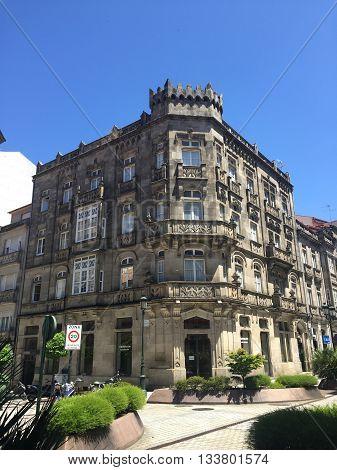 historical streetcorner buildings in Vigo, galicia, Spain