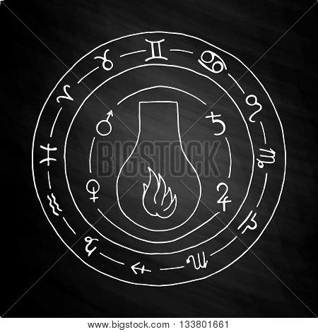 Masonic vial Emblem Icon Logo. Hand drawn on chalkboard