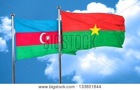 Azerbaijan flag with Burkina Faso flag, 3D rendering