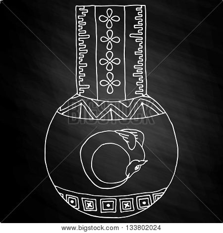 Masonic Vial with a dragon Emblem Icon Logo. Hand drawn on chalkboard