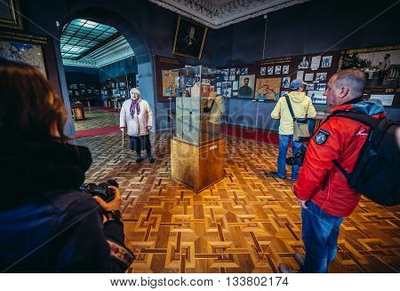 Gori Georgia - April 23 2015. Tourists visits Museum of Joseph Stalin in his hometown - Gori