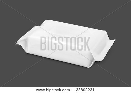 blank packaging paper wipes pouch isolated on gray background with clipping path
