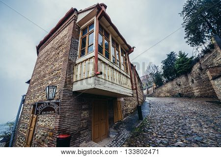 Sighnaghi Georgia - April 24 2015. Guest house in Sighnaghi small town in Kakheti district