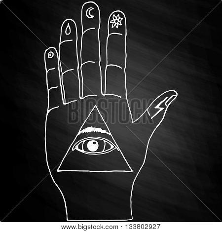 Sunburst, hand, ornaments and all seeing eye symbol. Illuminati symbols on chalkboard