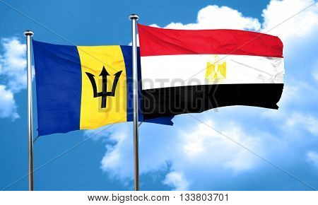 Barbados flag with egypt flag, 3D rendering