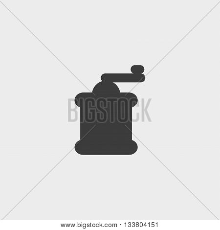 Coffee grinder icon in a flat design in black color. Vector illustration eps10