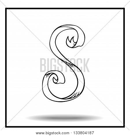 Ribbon alphabet. Ribbon letter. Ribbon S. Display ribbon font. Sketch ribbon latter S.