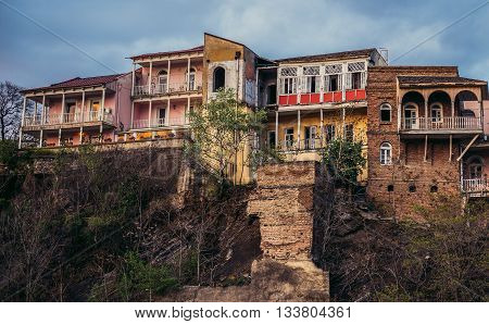 Tbilisi Georgia - April 24 2015. Old houses in Tbilisi