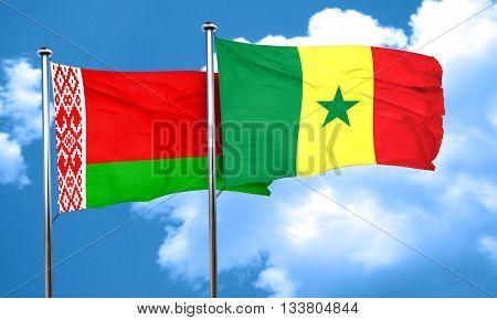 Belarus flag with Senegal flag, 3D rendering