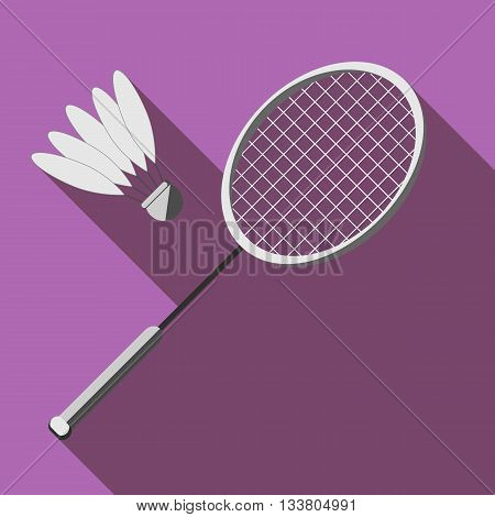 Racket and a shuttlecock for badminton with long shadow. Picture style flat