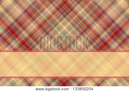 Red and vanilla checkered illustration with vanilla colored banner