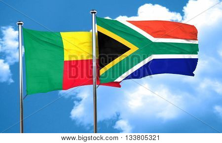 Benin flag with South Africa flag, 3D rendering