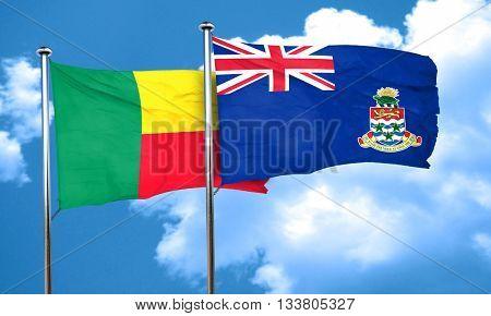 Benin flag with Cayman islands flag, 3D rendering