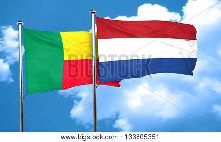 Benin flag with Netherlands flag, 3D rendering