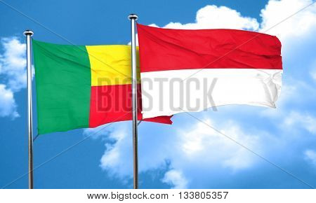 Benin flag with Indonesia flag, 3D rendering