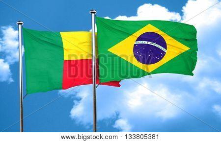 Benin flag with Brazil flag, 3D rendering