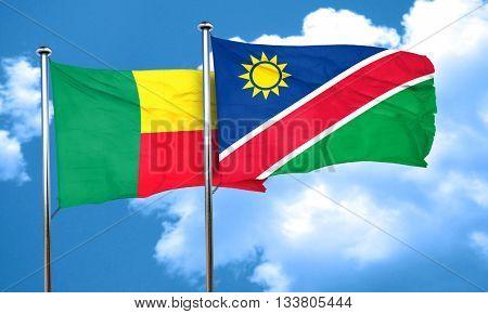 Benin flag with Namibia flag, 3D rendering
