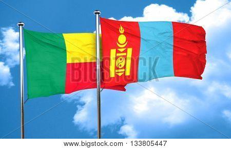 Benin flag with Mongolia flag, 3D rendering