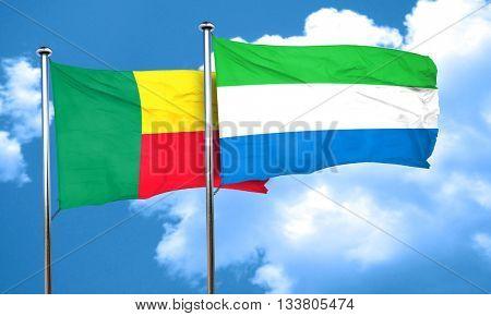 Benin flag with Sierra Leone flag, 3D rendering