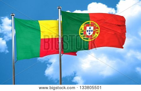Benin flag with Portugal flag, 3D rendering