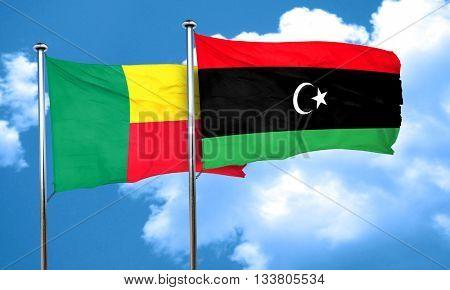Benin flag with Libya flag, 3D rendering