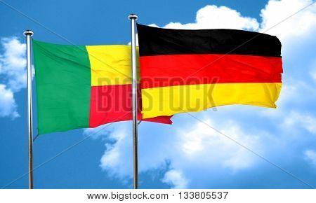 Benin flag with Germany flag, 3D rendering