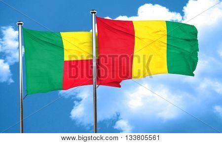 Benin flag with Guinea flag, 3D rendering