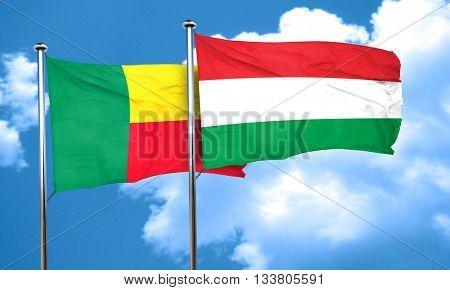 Benin flag with Hungary flag, 3D rendering