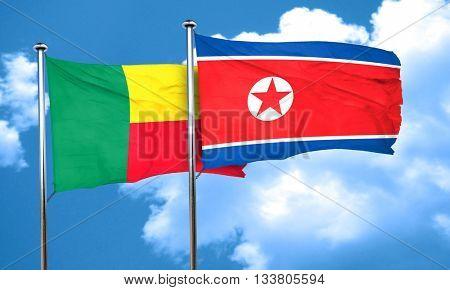 Benin flag with North Korea flag, 3D rendering