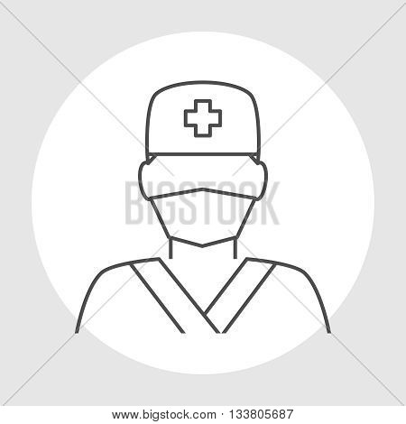 Doctor avatar line icon. Surgeon doctor in medical clothes