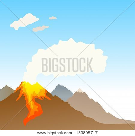 erupting volcano on sky background. vector illustration