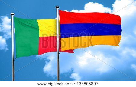 Benin flag with Armenia flag, 3D rendering