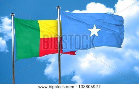 Benin flag with Somalia flag, 3D rendering