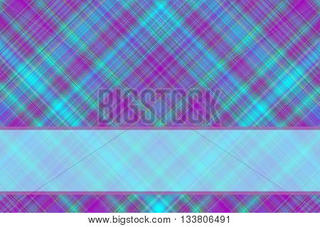 Cyan and purple checkered illustration with cyan banner