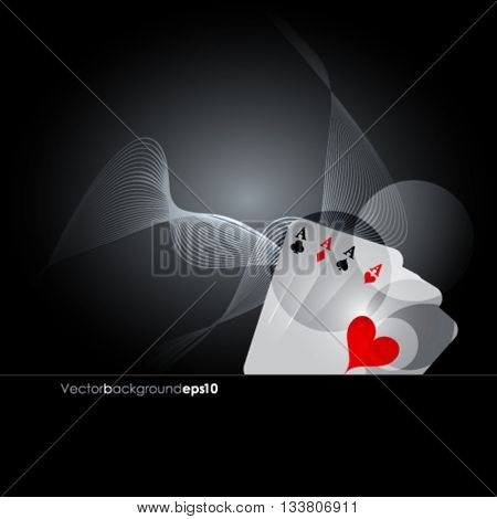 Vector illustration on a casino theme with playing poker cards