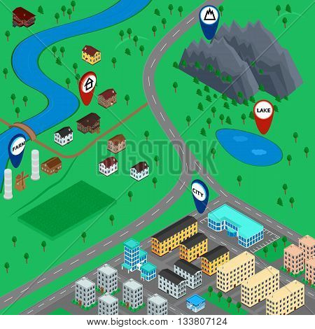 vector illustration. cartoon 3D map landscape with signs city road village mountain river lake farm. The building of houses. gps navigation. Isometric.
