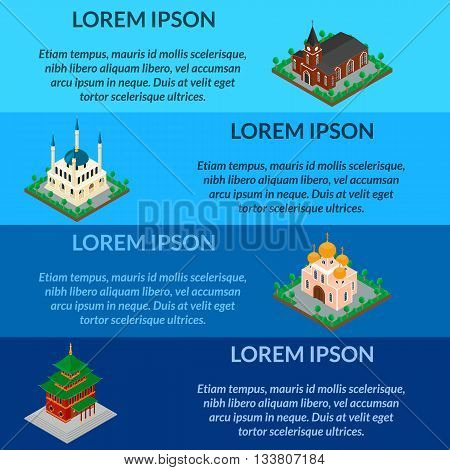 vector illustration. Sets of religious buildings. Islamic mosque Catholic Orthodox Church a Buddhist temple. isometric 3D. web banners