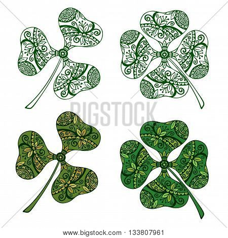 Clover Plants With a Symbolical Floral Pattern, With Three Leaves and Four-Sheeted Quadrifoliate Tetraphyllous Happy, Colorful and Green Monochrome Contours, Isolated on White Background. Vector